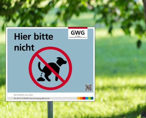 "GWG Gifhorn Hinweisschild: ""Hier bitte nicht"""