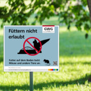 """GWG Gifhorn Hinweisschild: """"Füttern nicht erlaubt"""""""