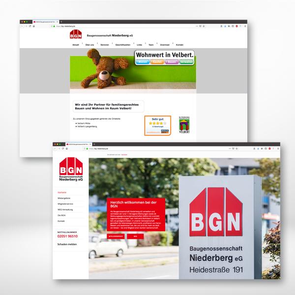 der Internetauftritt der BGN: vorher (oben) und nachher