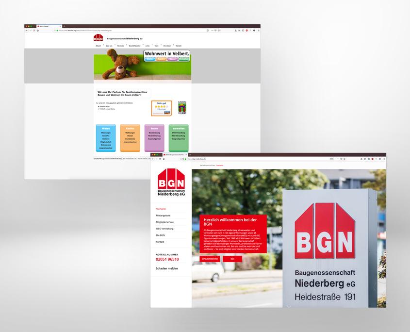 die alte (oben) und die neue Website der BGN