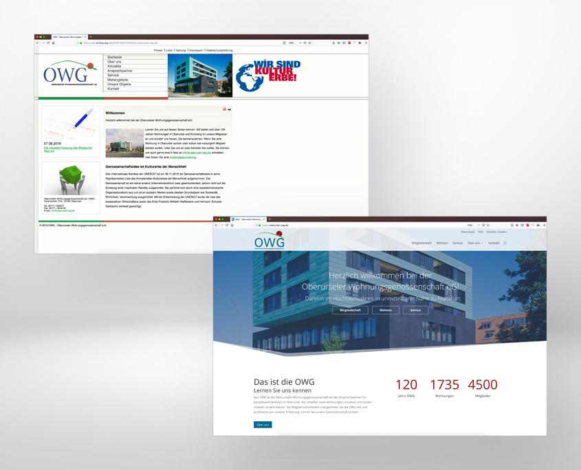 die alte (oben) und die neue Website der OWG