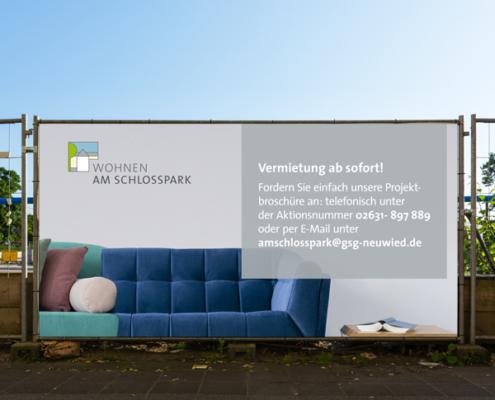 """GSG Neuwied: Bauzaunbanner """"Am Schlosspark"""""""