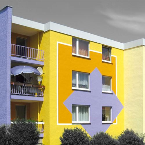 Aufbaugemeinschaft Espelkamp, Farbkonzept: tanzendes Quadrat