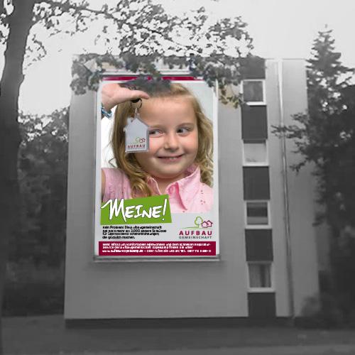 """Aufbaugemeinschaft Espelkamp, Fassadenposter """"Meine""""-Kampagne"""
