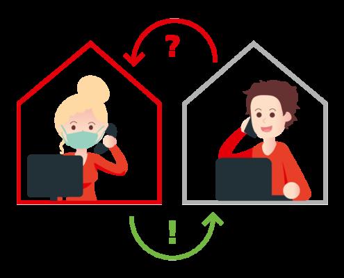 Illustration Corona - telefonischer Kontakt