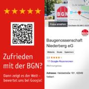 Die BGN animiert ihre Mieter und Mitglieder zu positiven Google-Bewertungen.