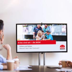 Unternehmenspräsentation auf Bildschirm