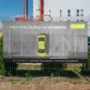 Banner mit Hinweis auf freie Stellplätze der GSW