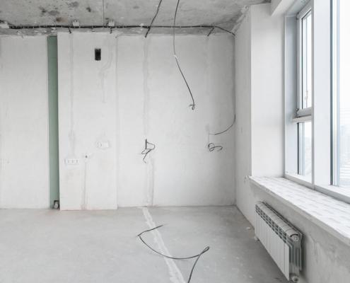 Vorher-Bild: Wohnraum in Bauphase