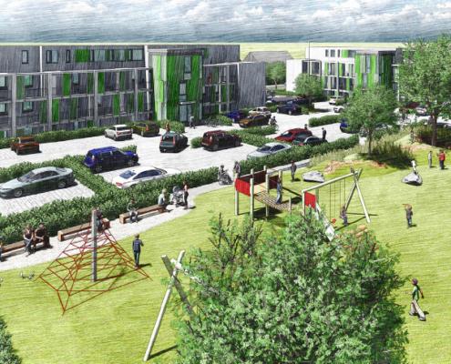 """RBS: Neubau """"Herz in Hand"""", Visualisierung Außenanlage mit Spielplatz"""
