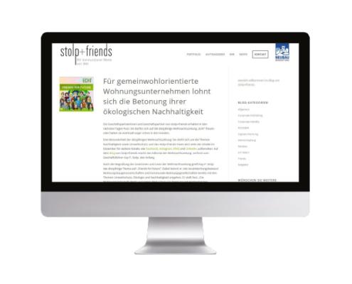 Blogbeitrag auf einem Computerbildschirm