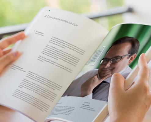 Ein Partner der GEWOBAU Essen im Innenteil des Jahresberichts